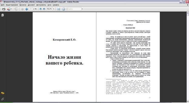 Главное меню программы Adobe Reader