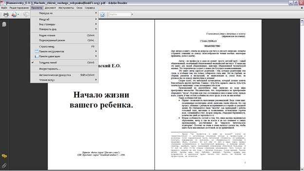 Меню просмотр Adobe Reader