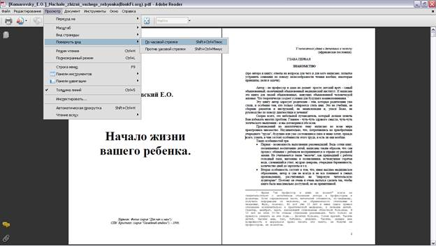Вид страницы горизонтально Adobe Reader