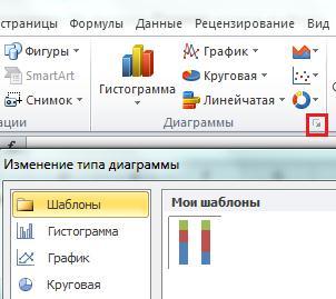 Изменение типа диаграмм Excel 2010